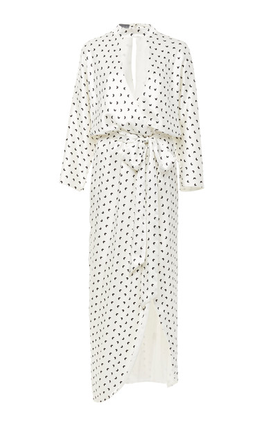 Monique Lhuillier Butterfly Printed Satin Faux Wrap Dress Size: 8 in white