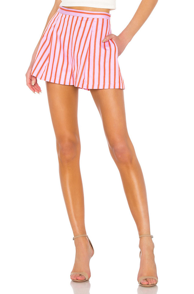 MDS Stripes Pleated Short in pink