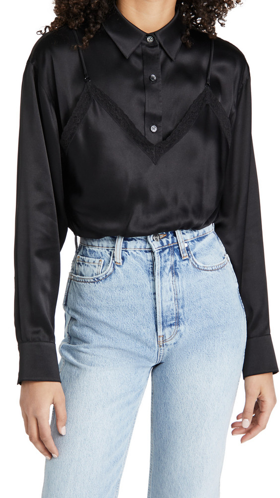 alexanderwang.t Button Down Cami Hybrid Top with Lace in black