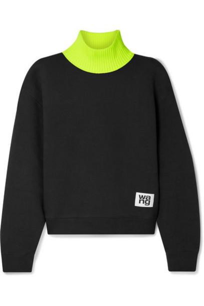 alexanderwang.t - Cotton-blend Fleece And Jersey Turtleneck Sweatshirt - Black