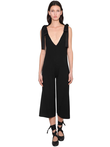 RED VALENTINO Virgin Wool Jumpsuit W/ Satin Bows in black