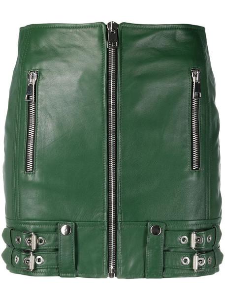 Manokhi fitted moto skirt in green