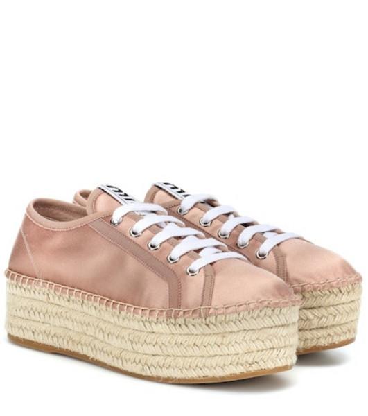 Miu Miu Satin espadrille sneakers in pink