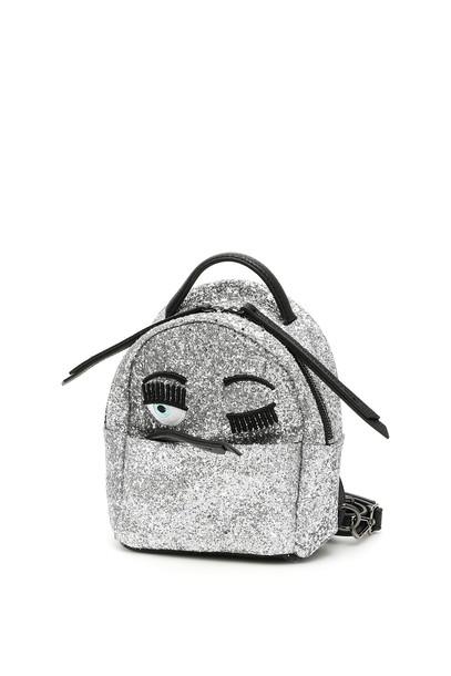 Chiara Ferragni Glitter Flirting Mini Backpack in silver