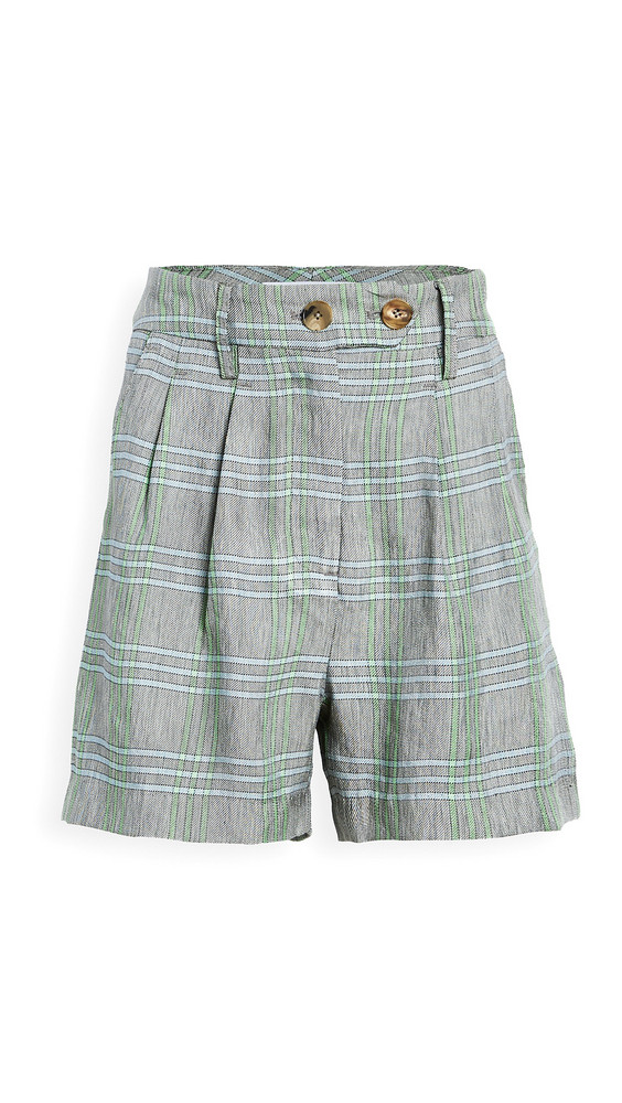 ei8htdreams Carolyn Pleated Linen Plaid Shorts in green