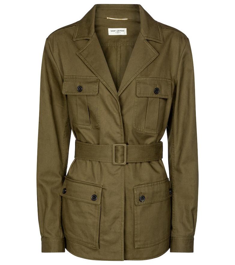 Saint Laurent Belted cotton-blend twill jacket in green