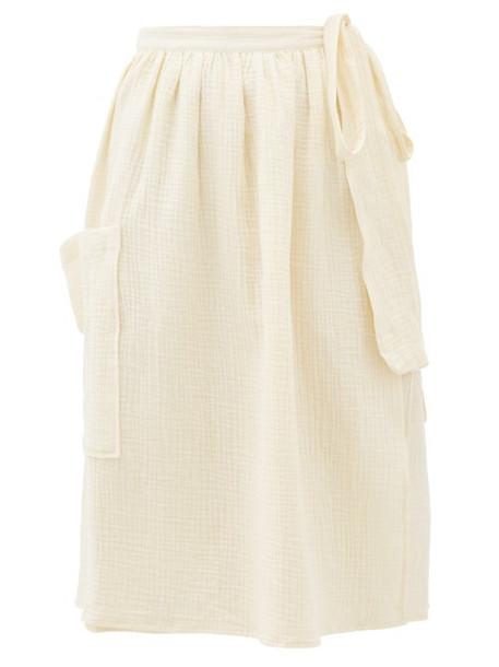 Loup Charmant - Tofo High-waist Cotton-seersucker Midi Skirt - Womens - Cream