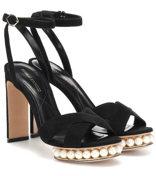 Nicholas Kirkwood Casati faux pearl-embellished sandals in black