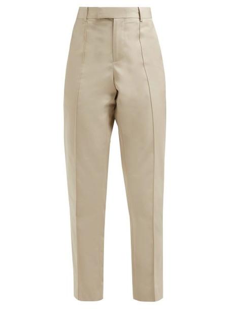 Bottega Veneta - Pintucked Cotton Poplin Straight Leg Trousers - Womens - Beige