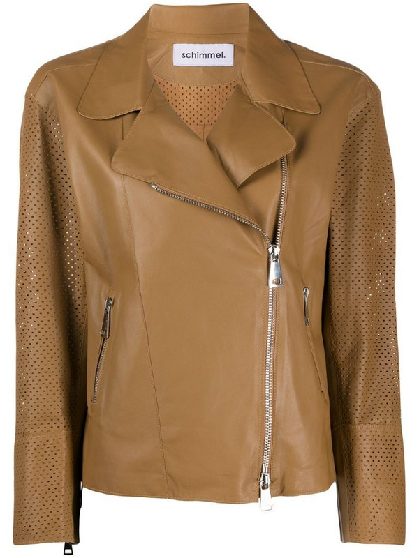 Sylvie Schimmel perforated leather jacket in brown