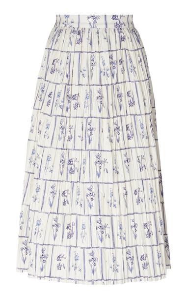 Khaite Sylvia Pleated Cotton Skirt Size: 0 in multi