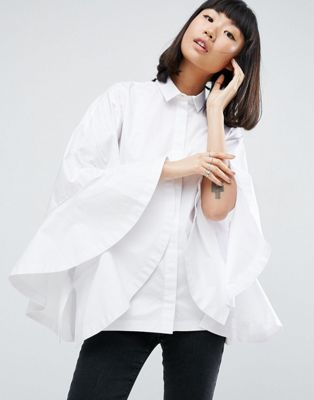 ASOS WHITE Extreme Frill Batwing Shirt at asos.com