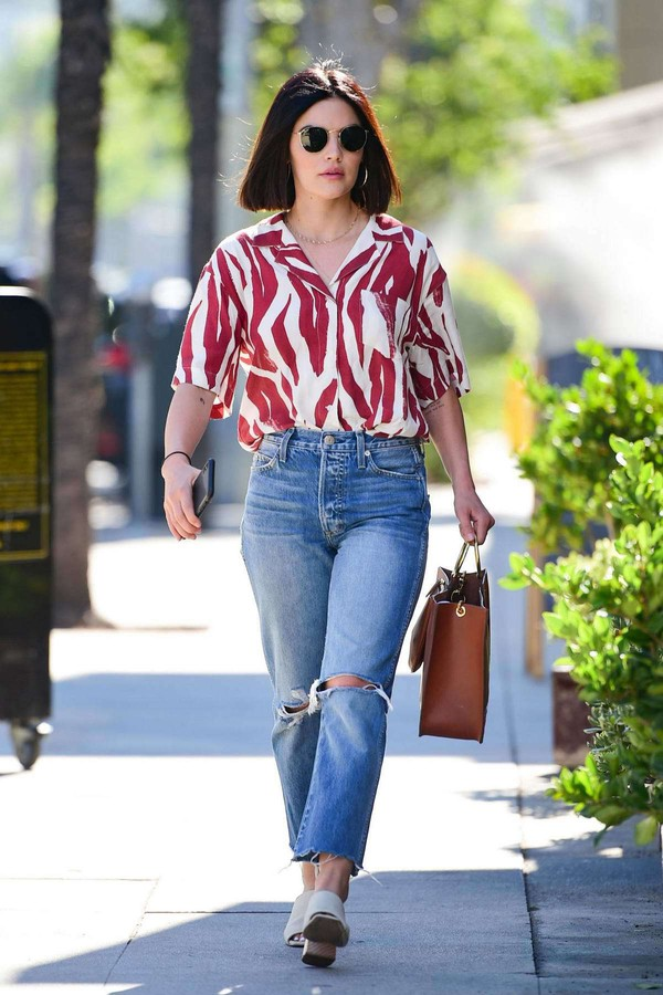 jeans denim ripped jeans lucy hale celebrity blouse shirt stripes