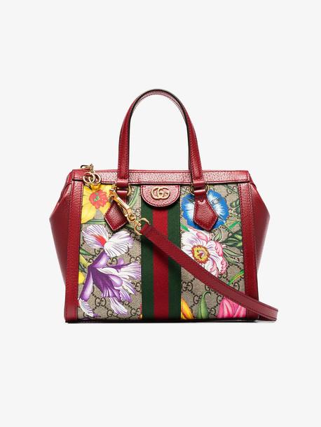 Gucci GCCI OPHIDIA MINI FLRFL GG SPREME TOTE in red