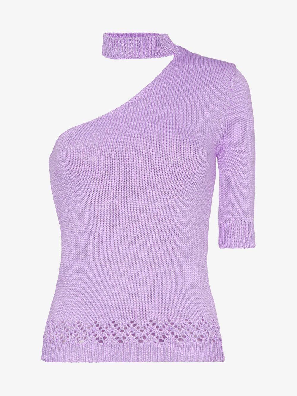 Les Reveries one-shouldered knitted mock neck T-shirt in purple