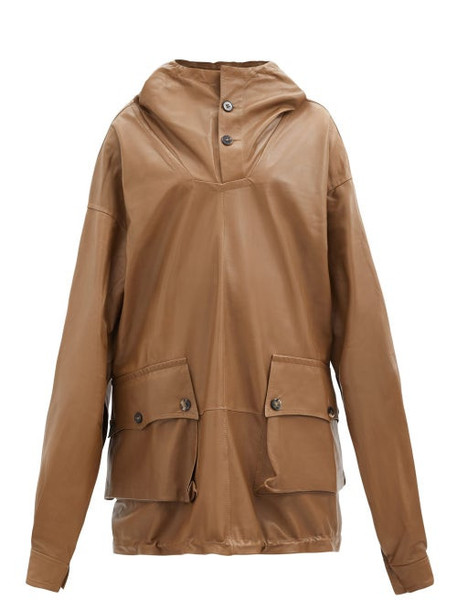 Petar Petrov - Marjan Hooded Longline Leather Jacket - Womens - Beige