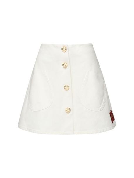 GUCCI Buttoned Cotton Mini Skirt in white