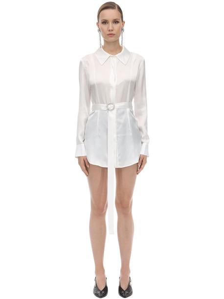 MATÉRIEL Belted Silk Satin Shirt in white