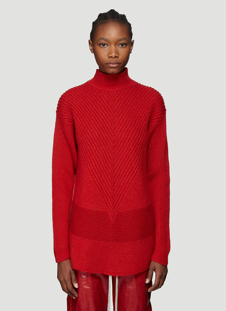Rick Owens Ribbed Knit Turtleneck Sweater in Red size L