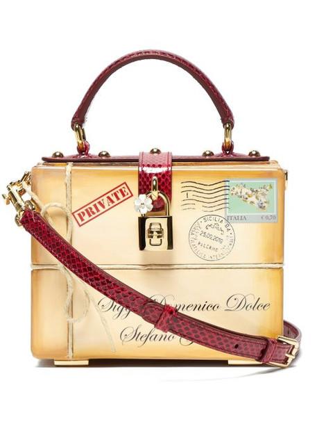 Dolce & Gabbana - Dolce Box Ayers Snakeskin Trim Bag - Womens - Beige Multi