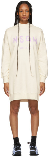 MSGM Off-White Brush Stroke Logo Short Dress in cream