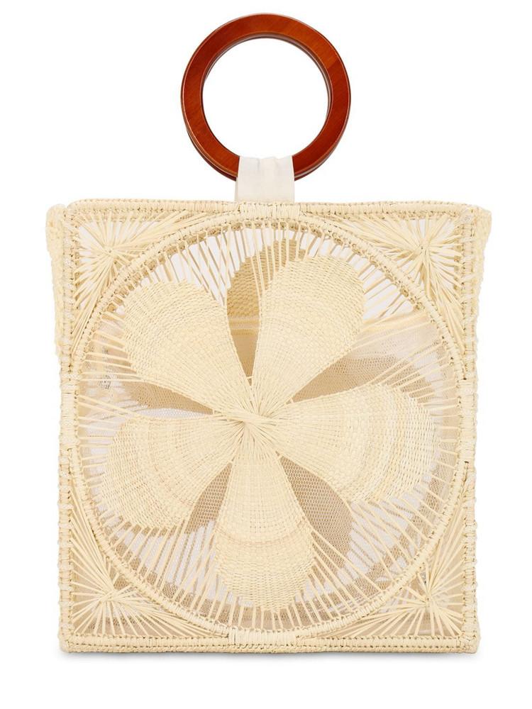 SENSI STUDIO Woven Flower Top Handle Bag in natural