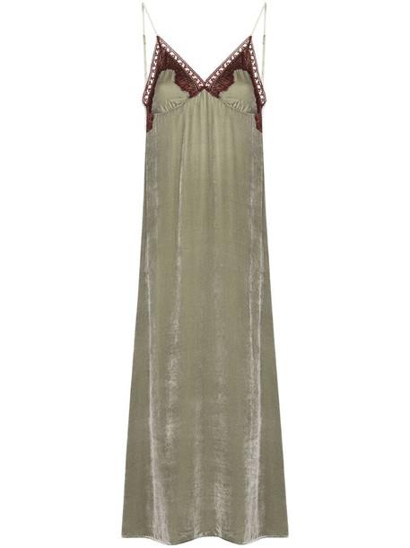 SLEEPING WITH JACQUES Freya lace-trim velvet slip nightdress in grey