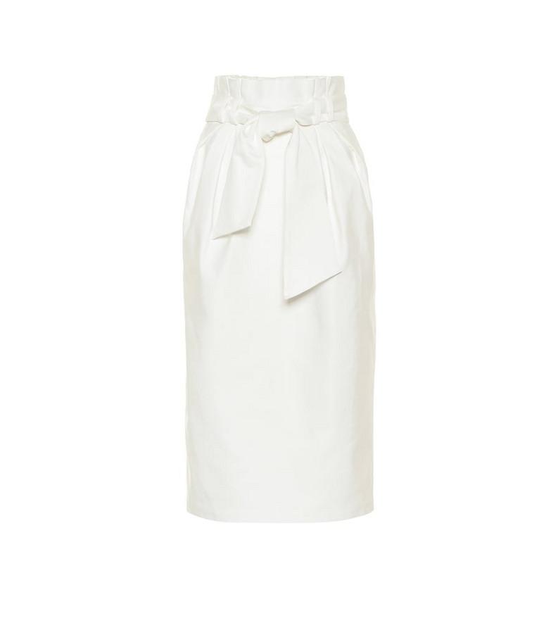 Gabriela Hearst Jordan belted cotton midi skirt in white