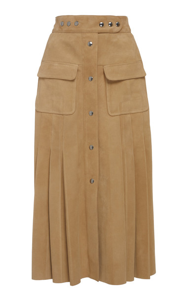 Prada Pleated Suede Midi Skirt in neutral