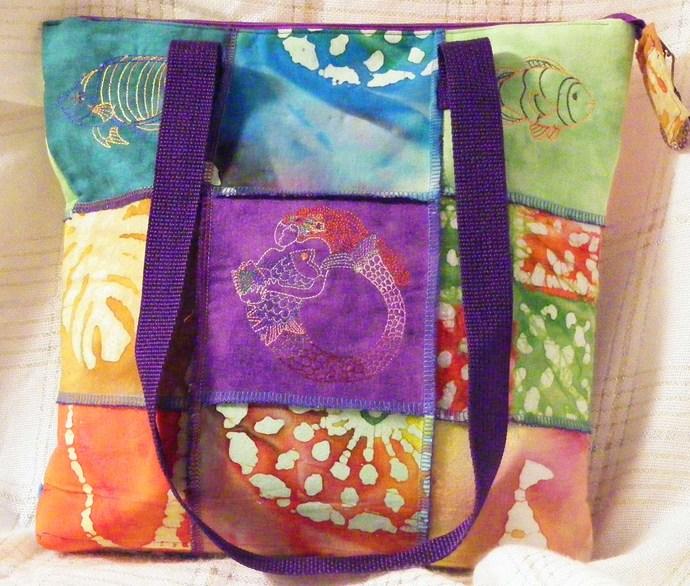 Medium Batik Handbags ... Sea Shells, Fish & A Mermaid