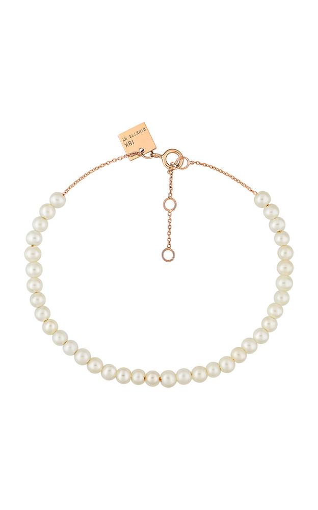 Ginette NY Mini Maria 18K Rose Gold Mother-Of-Pearl Bracelet in white