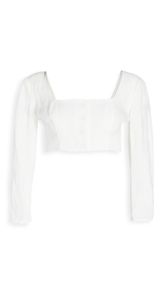 Le Kasha Jazirat Linen 3/4 Sleeve Crop Blouse in white