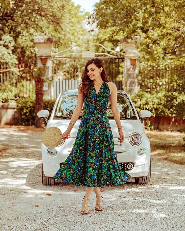 dress midi dress sleeveless dress floral dress handbag sandal heels