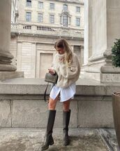 sweater,turtleneck sweater,cable knit,knee high boots,white shirt,bag