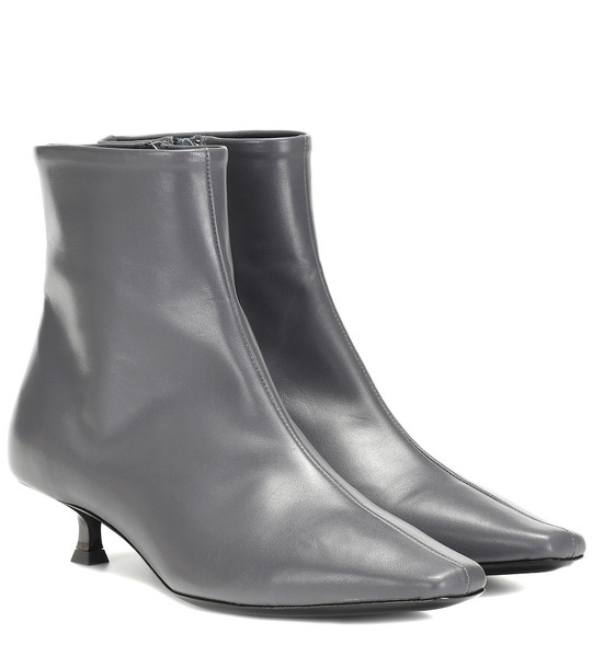 By Far Laura leather ankle boots in grey