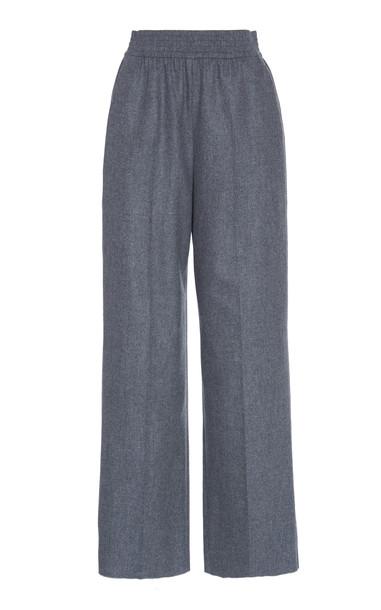 Agnona Elastic Waist Wool-Blend Tailored Pants in grey