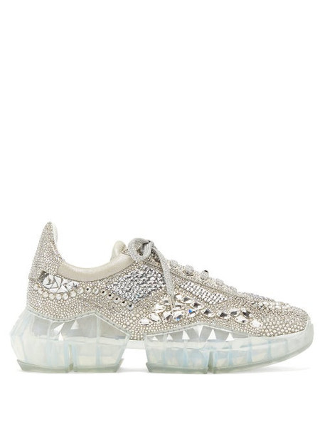 Jimmy Choo - Diamond Crystal-embellished Suede Trainers - Womens - Silver