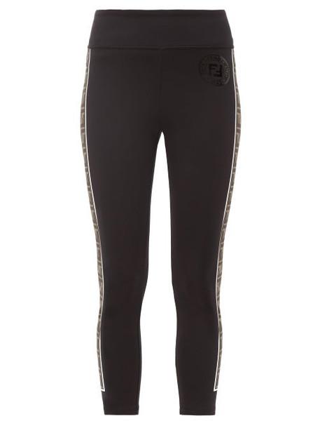 Fendi - Ff Side Striped Performance Leggings - Womens - Black