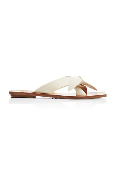 Staud Lei Leather Sandals in white