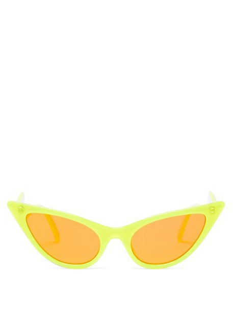 Le Specs - The Prowler Cat Eye Acetate Sunglasses - Womens - Yellow