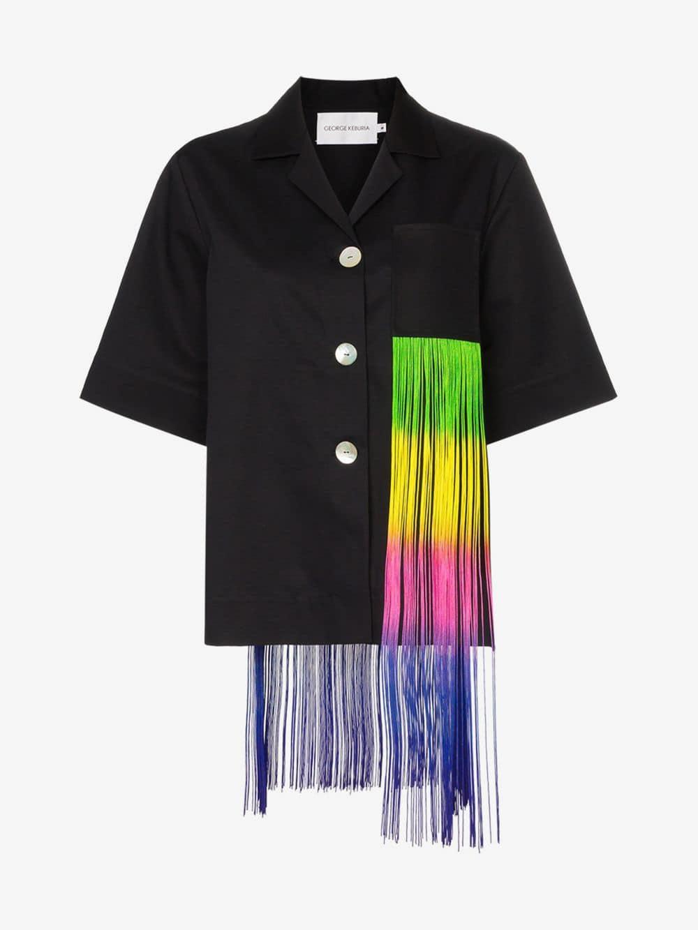 George Keburia rainbow fringe cotton jacket in black