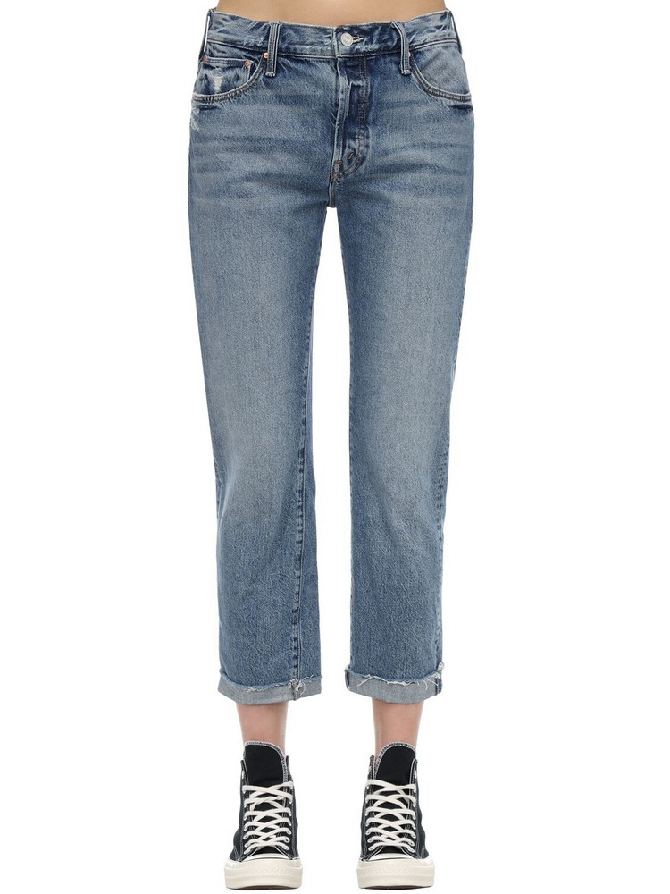 MOTHER The Scrapper Frayed Ankle Denim Jeans in blue