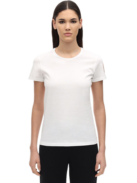 MONCLER Cotton Jersey T-shirt W/ Logo Patch in white