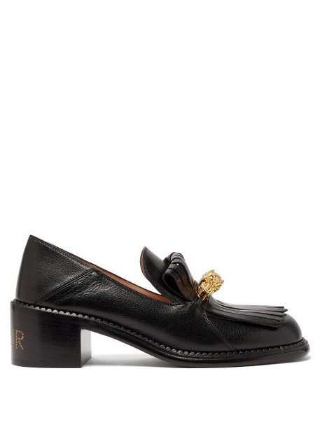 Gucci - Dora Leather Heeled Loafers - Womens - Black
