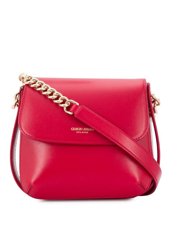 Giorgio Armani logo-print shoulder bag in red