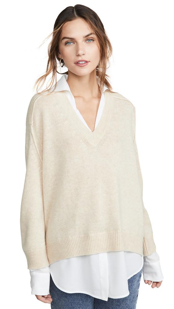 Brochu Walker Layered Pullover in white / beige