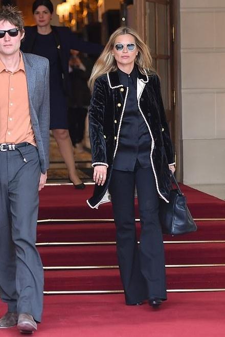 coat kate moss celebrity model off-duty velvet