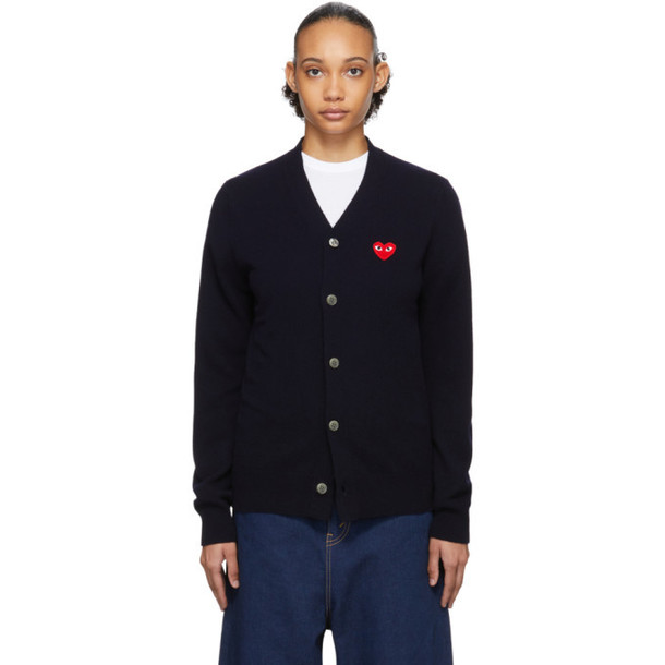 Comme des Garcons Play Navy Mens Fit Heart Patch Cardigan