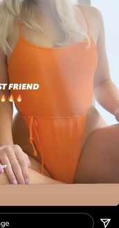 swimwear,orange,one piece swimsuit,high waisted bikini,high waisted,orange swimwear,orange swimsuit