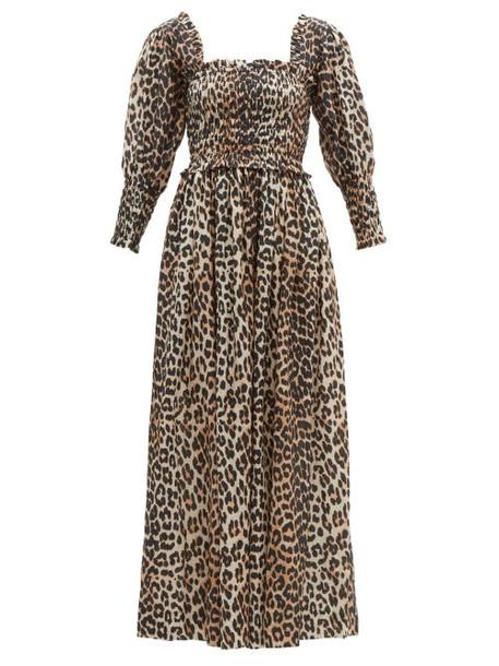 Ganni - Shirred Leopard Print Cotton Blend Maxi Dress - Womens - Leopard